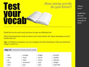 [無料]あなたの英単語のボギャブラリーをテストしてくれる無料ツール